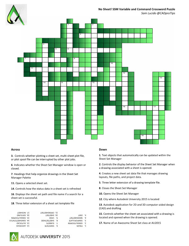 word search and ssm crossword puzzle at au2015 | cadprotips, Powerpoint templates