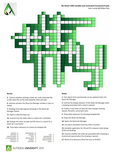 Sheet Set Manager Crossword Puzzle